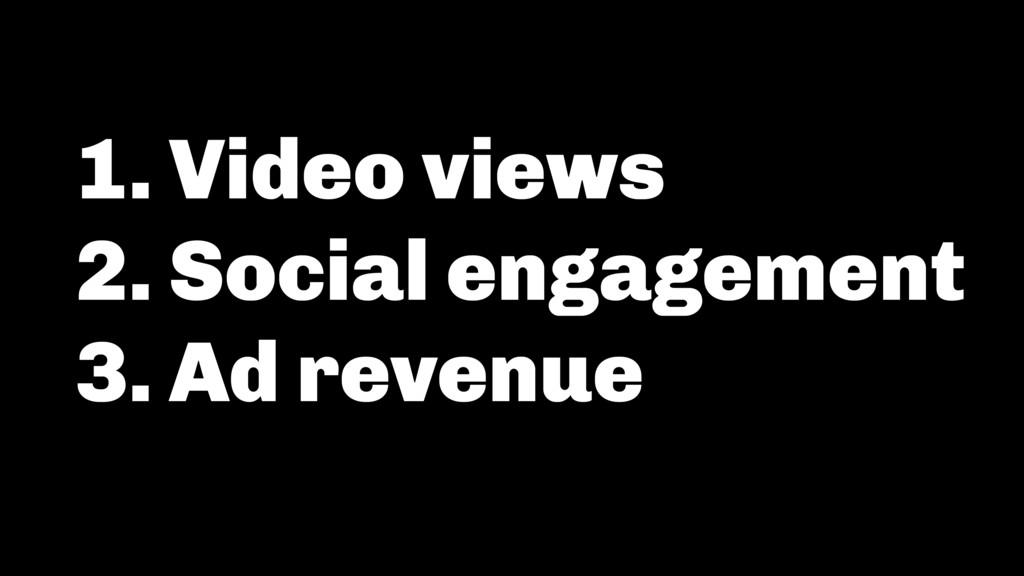 1. Video views 2. Social engagement 3. Ad reven...