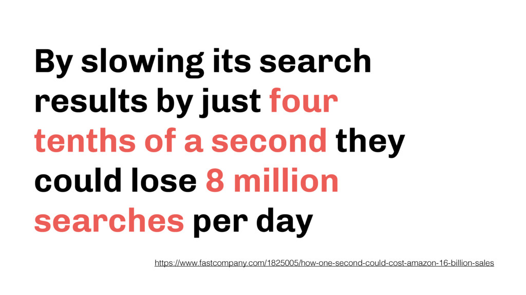 By slowing its search results by just four tent...