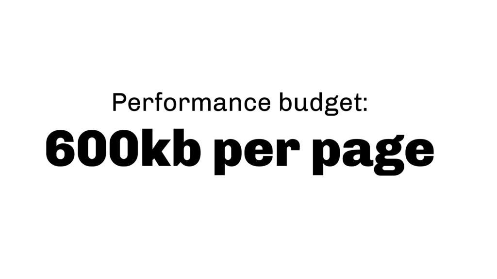 Performance budget: 600kb per page