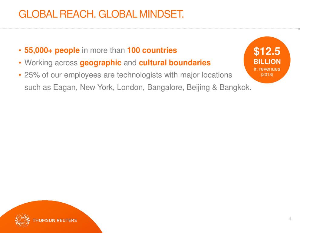 GLOBAL REACH. GLOBAL MINDSET. 4 • 55,000+ peopl...