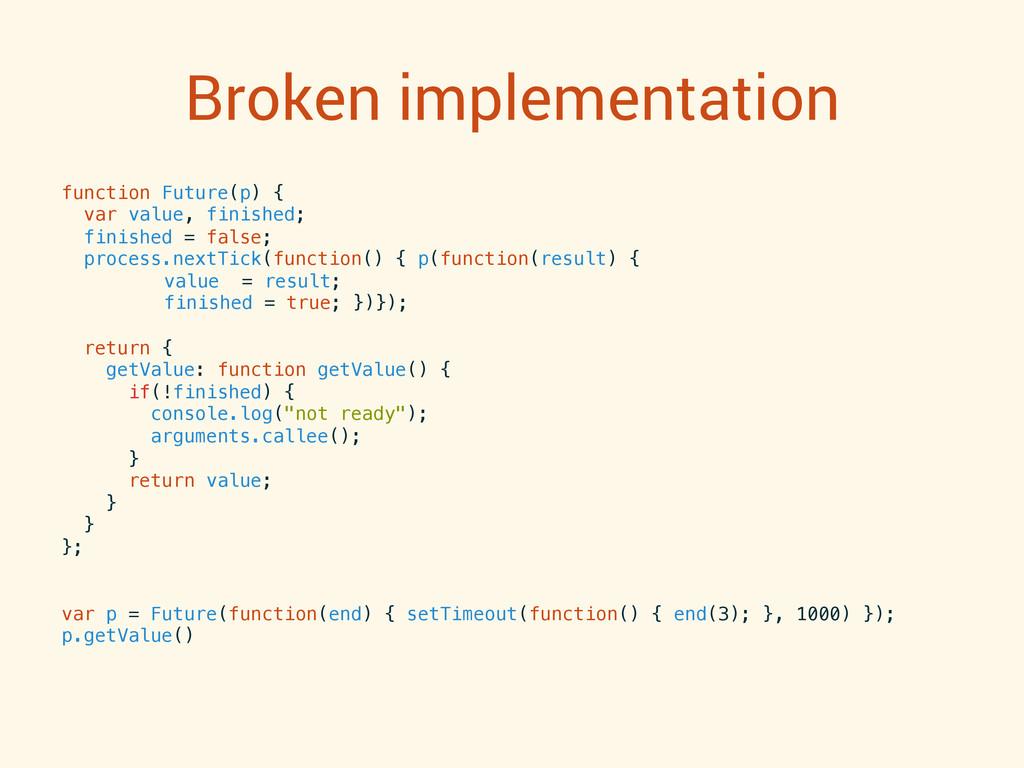 Broken implementation function Future(p) {! var...
