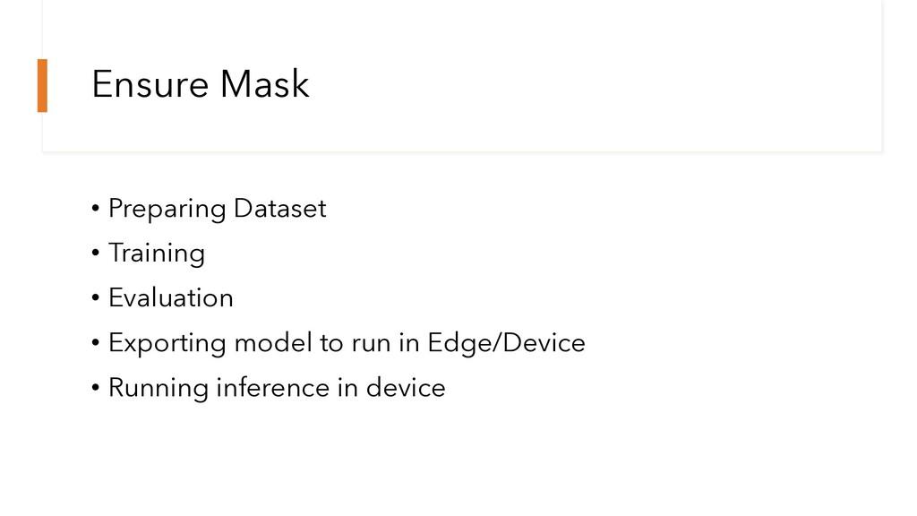 Ensure Mask • Preparing Dataset • Training • Ev...