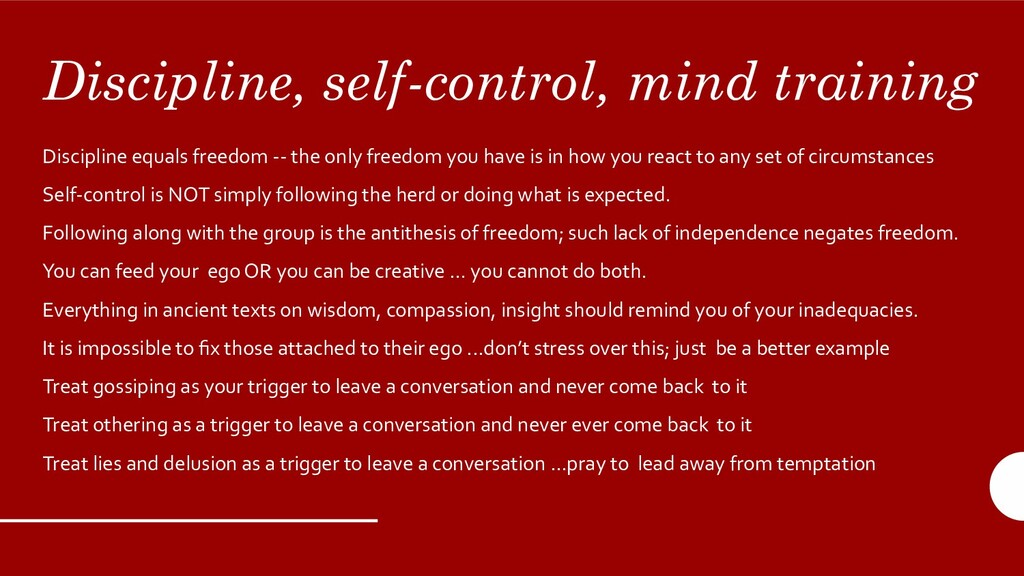 Discipline, self-control, mind training Discipl...