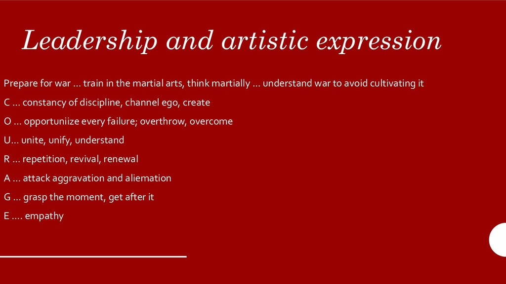 Leadership and artistic expression Prepare for ...