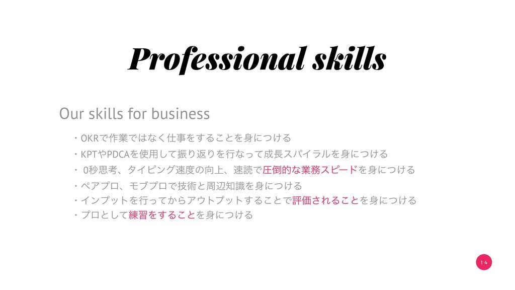 1 4 Professional skills ɾOKRͰ࡞ۀͰͳ͘Λ͢Δ͜ͱΛʹ͚ͭ...