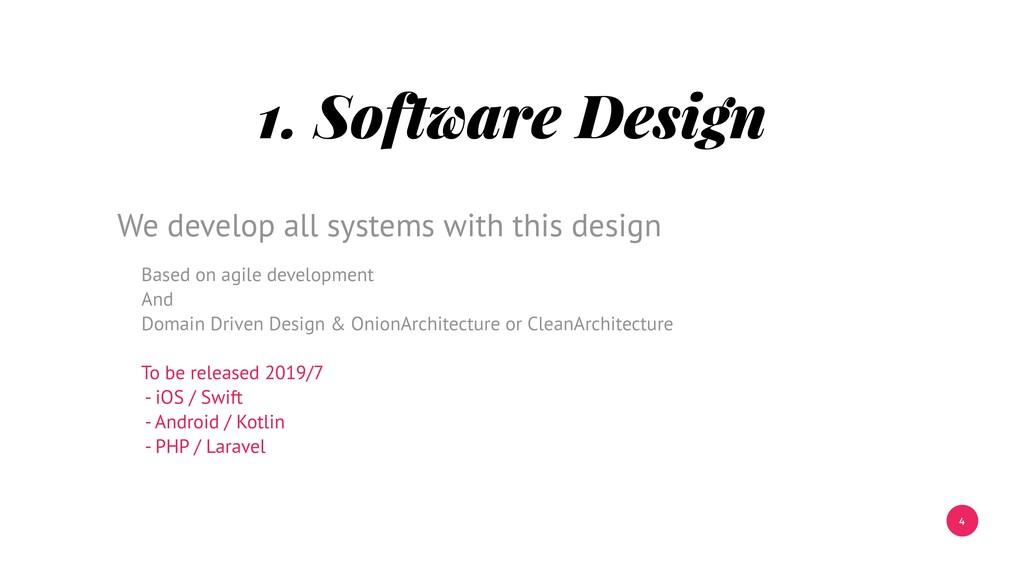 4 1. Software Design Based on agile development...