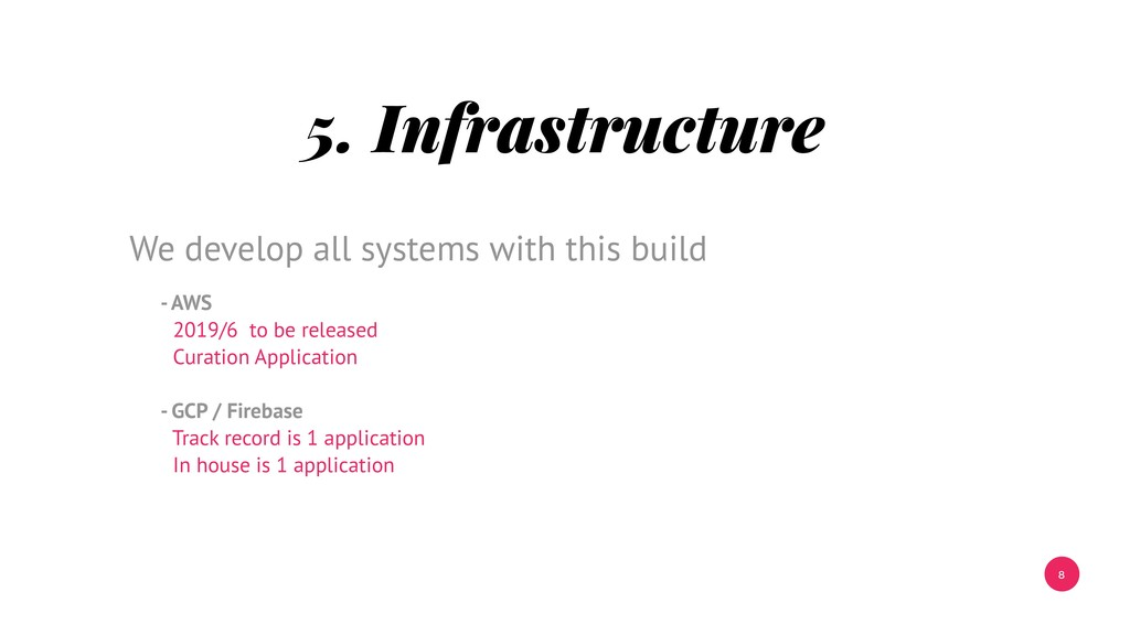 8 5. Infrastructure - AWS 2019/6 to be released...