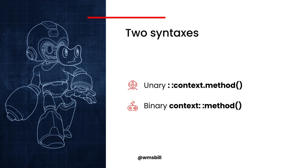@wmsbill Two syntaxes Unary : :context.method()...