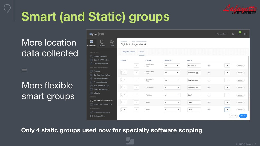 © JAMF Software, LLC Smart (and Static) groups ...