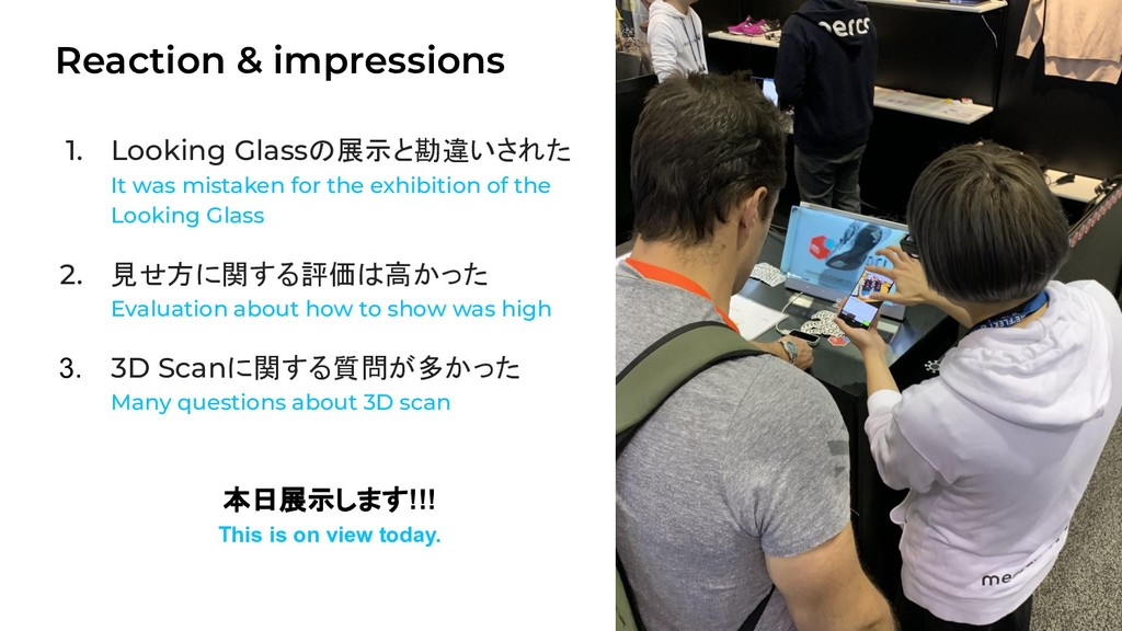 Reaction & impressions 15 1. Looking Glassの展示と勘...