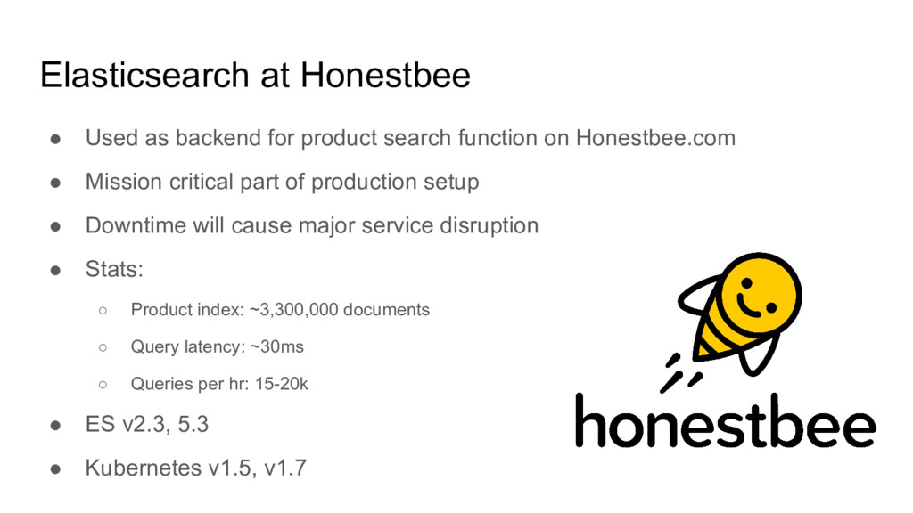 Elasticsearch at Honestbee ● Used as backend fo...