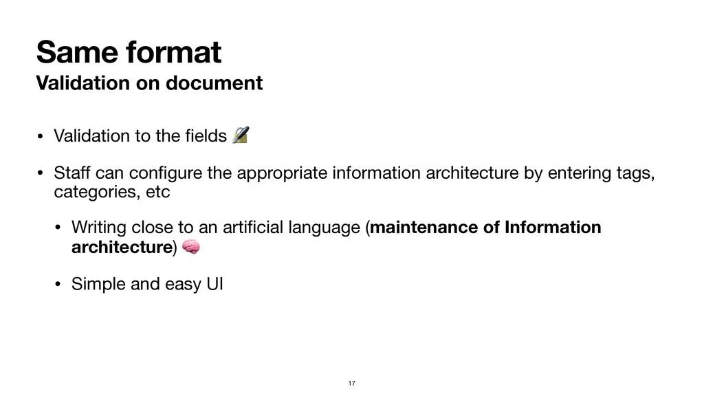 Same format Validation on document • Validation...
