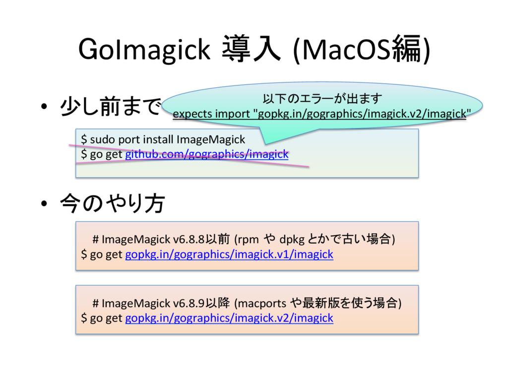 GoImagick 導入 (MacOS編) • 少し前まで  • 今のやり方...