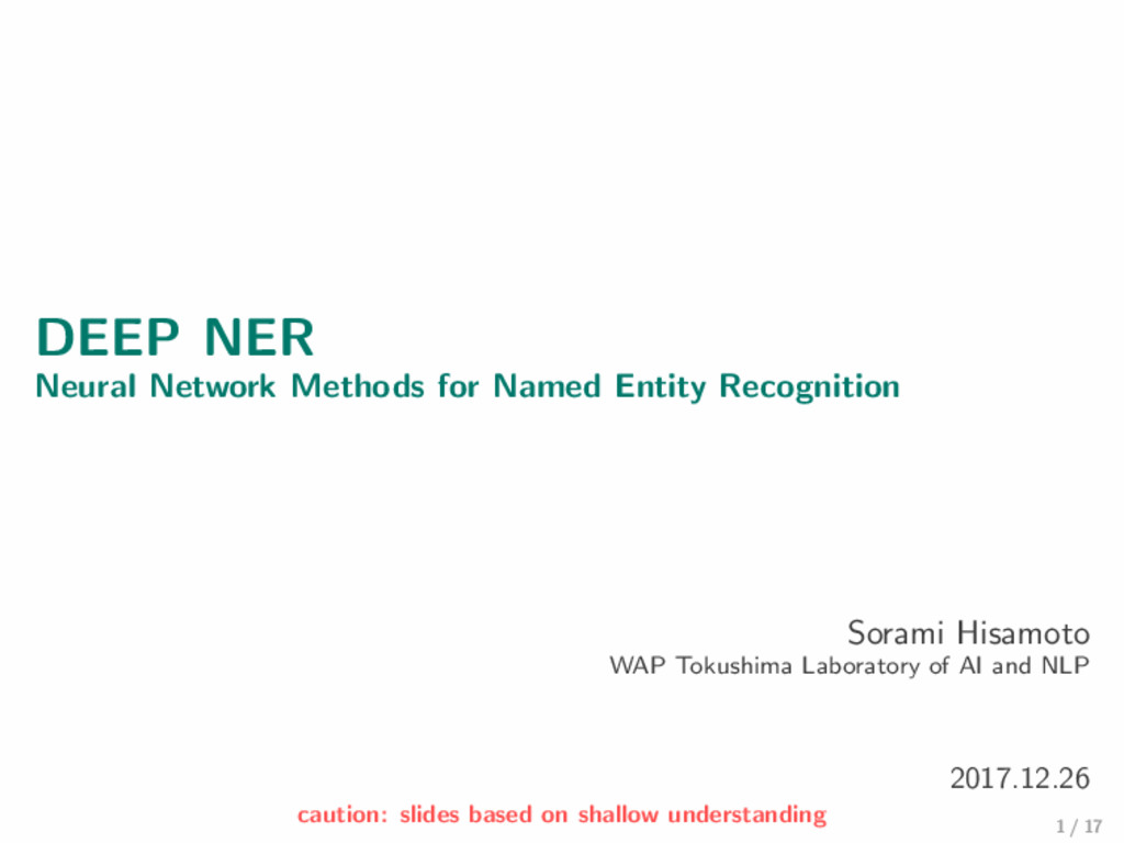 DEEP NER Neural Network Methods for Named Entit...