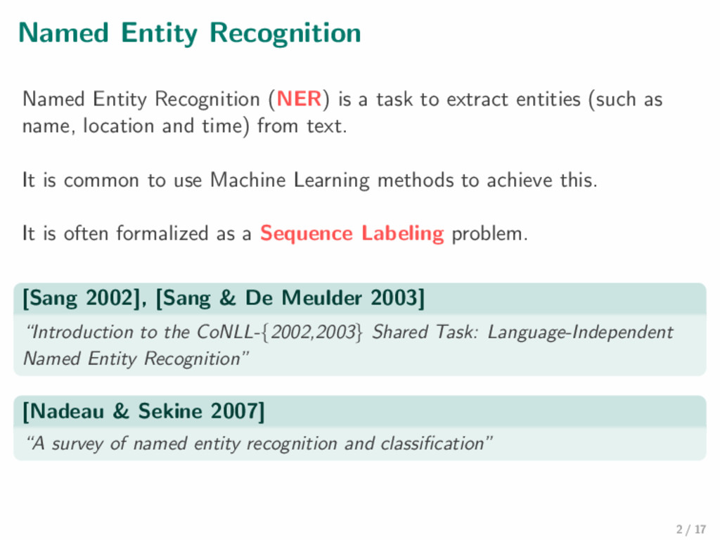 Named Entity Recognition Named Entity Recogniti...