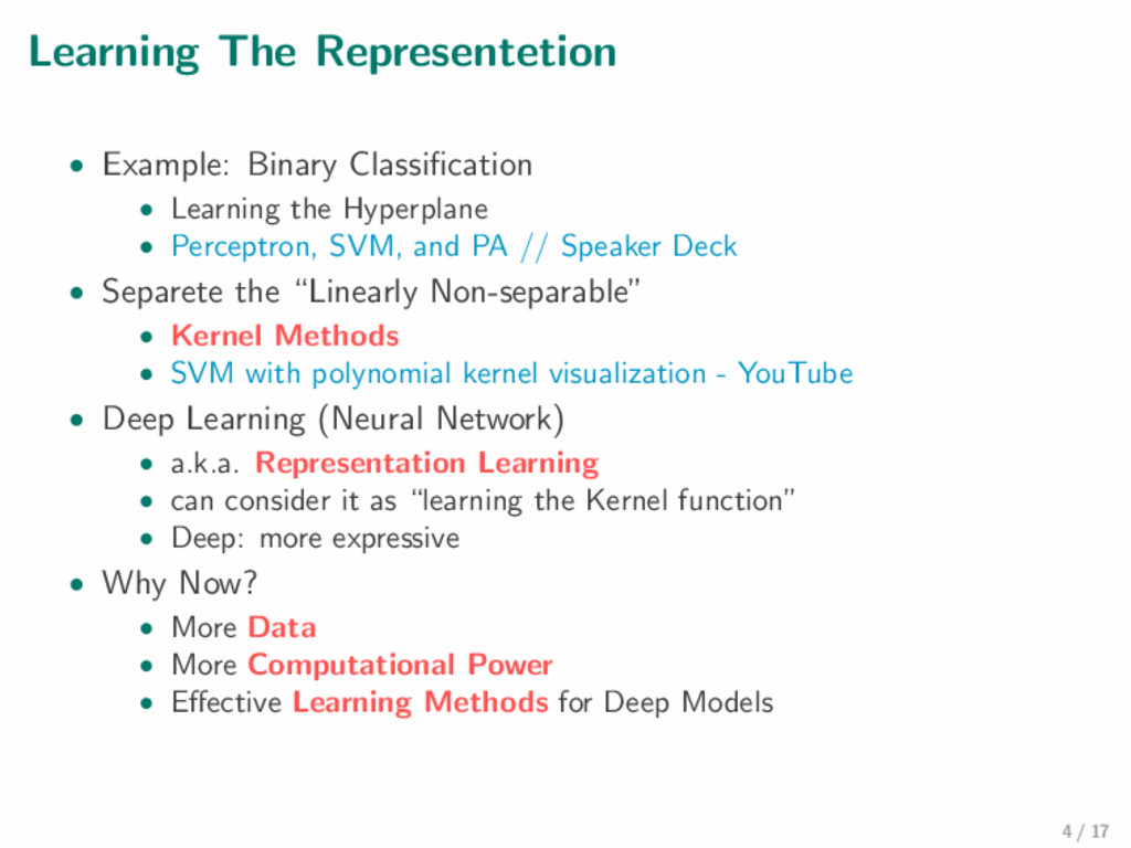 Learning The Representetion • Example: Binary C...
