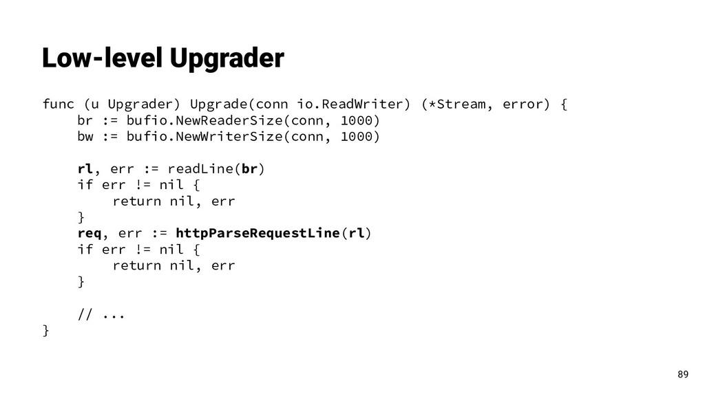 func (u Upgrader) Upgrade(conn io.ReadWriter) (...