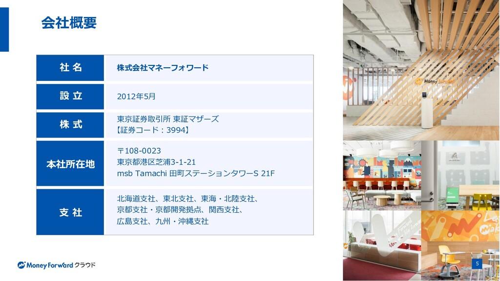 社 名 株式会社マネーフォワード 設 立 2012年5月 株 式 東京証券取引所 東証マザーズ...
