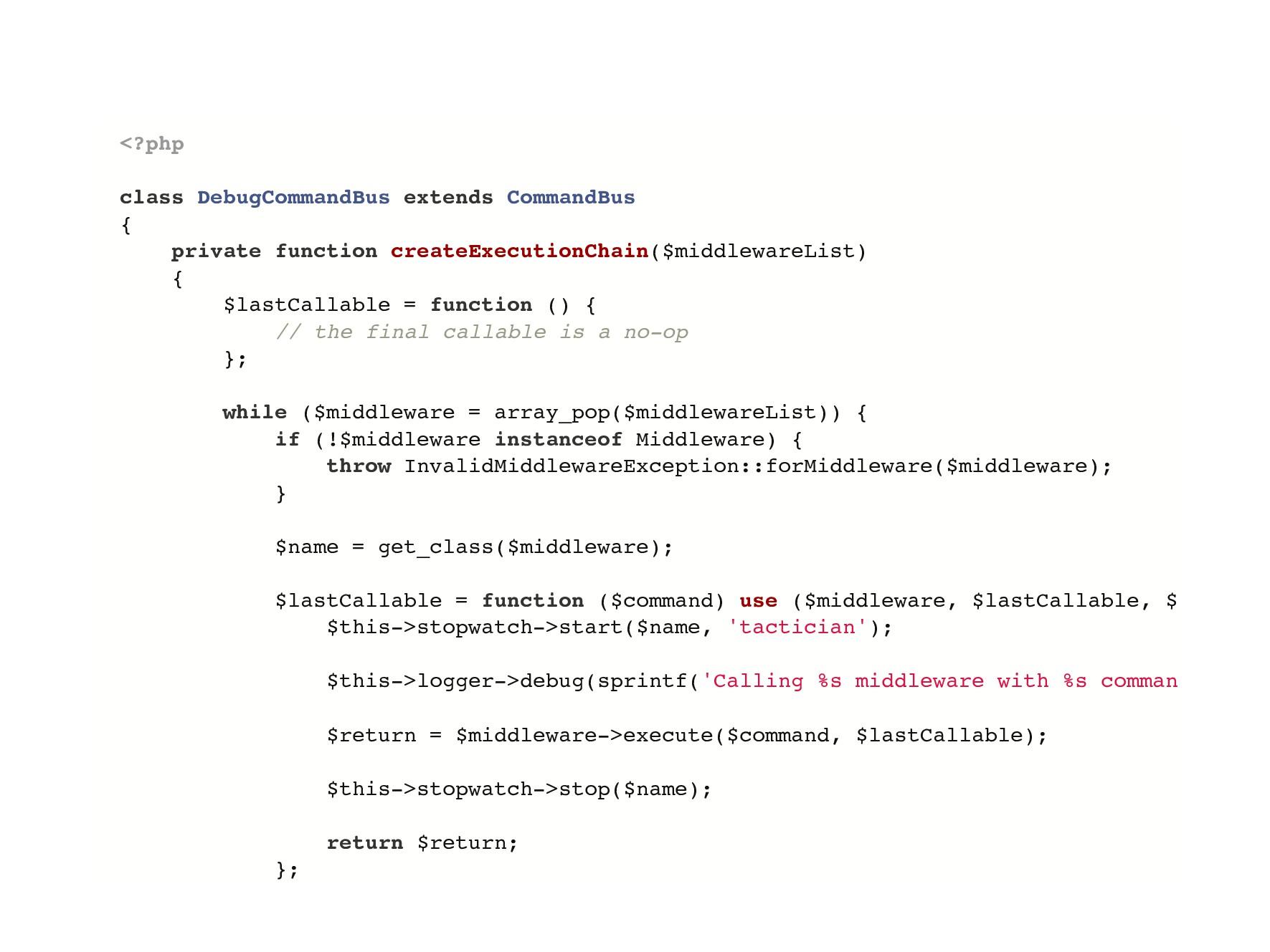 <?php class DebugCommandBus extends CommandBus ...