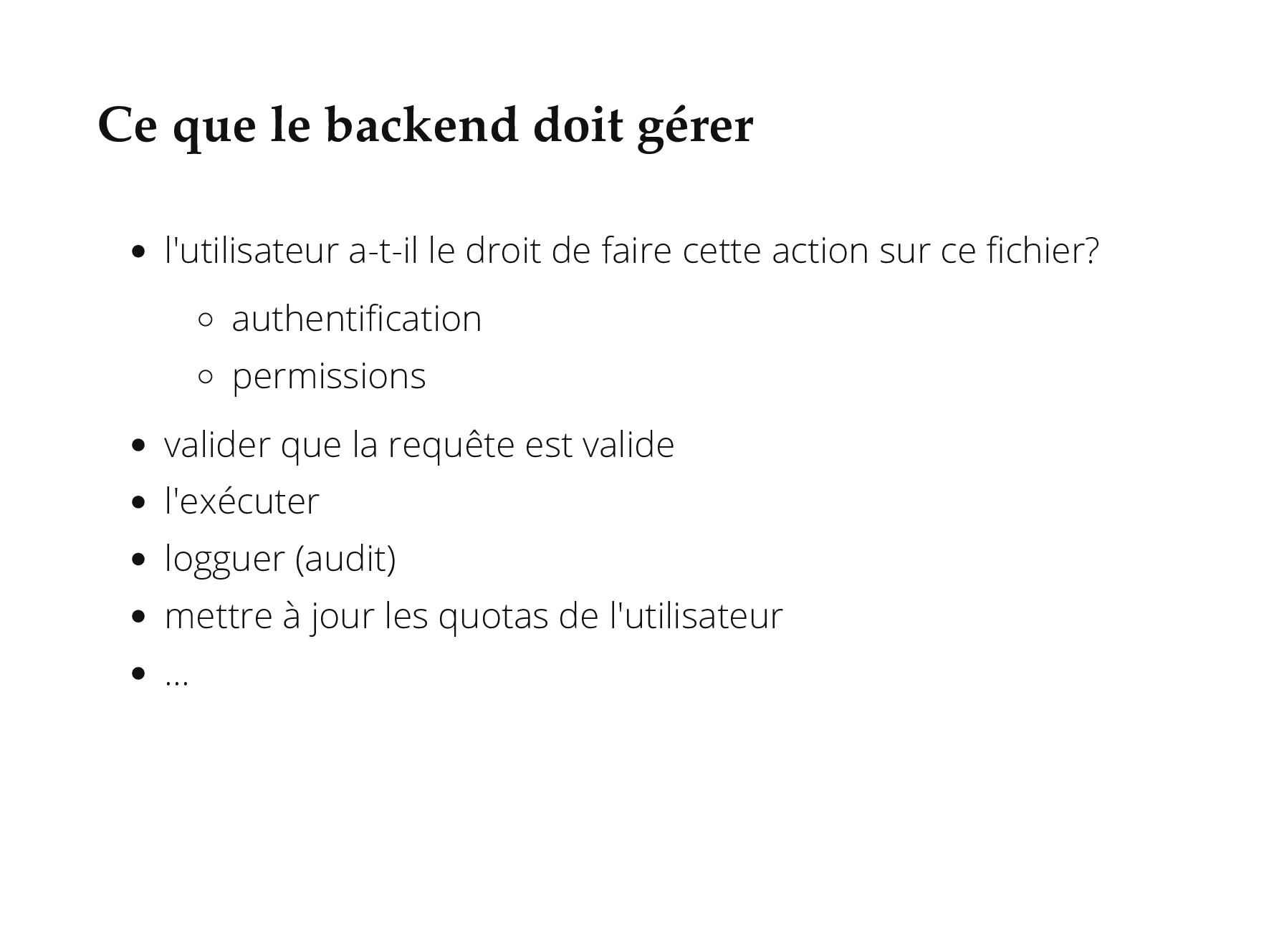 Ce que le backend doit gérer l'utilisateur a-t-...