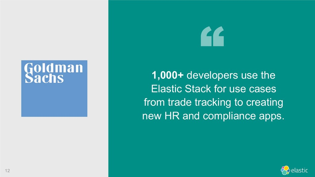 !12 1,000+ developers use the Elastic Stack for...