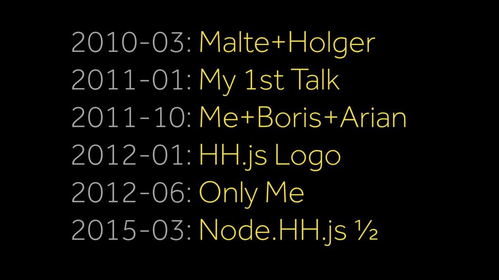 2010-03: Malte+Holger 2011-01: My 1st Talk 2011...