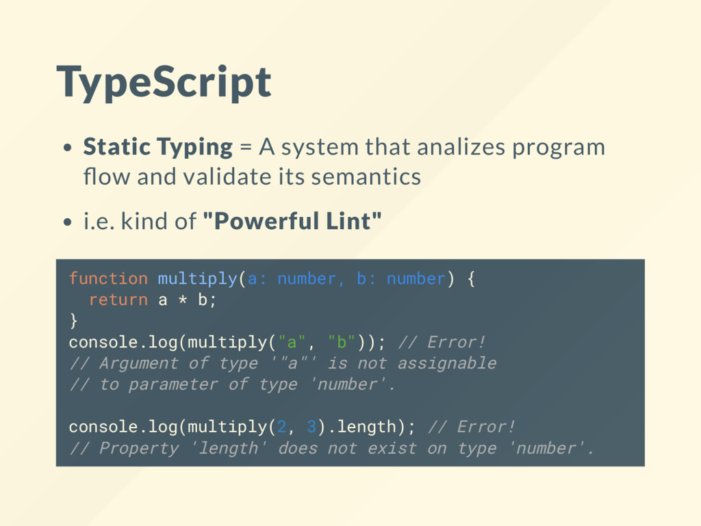 TypeScript Static Typing = A system that analiz...