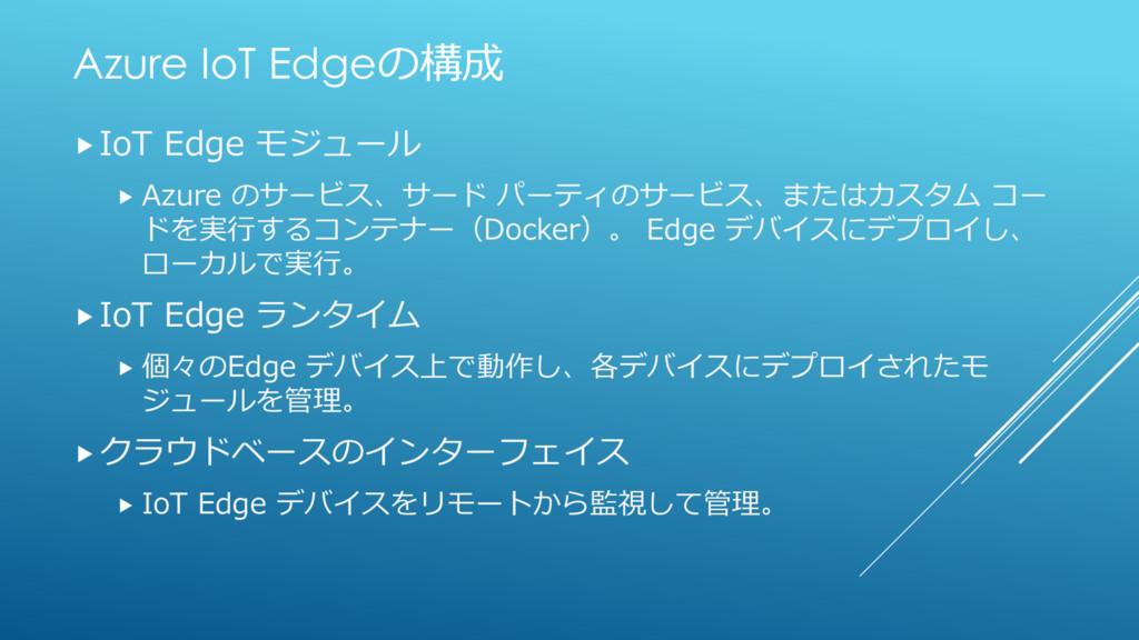 Azure IoT Edgeの構成 IoT Edge モジュール  Azure のサービス...