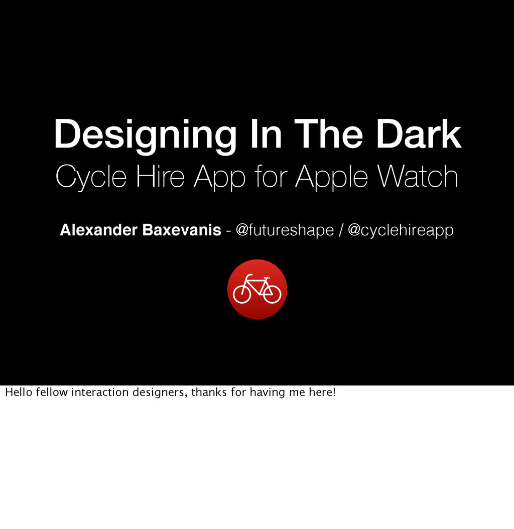 Designing In The Dark Cycle Hire App for Apple ...