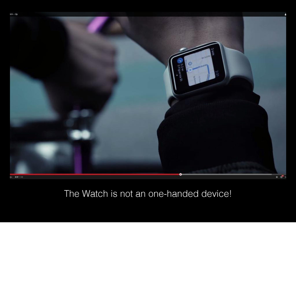 The Watch is not an one-handed device!