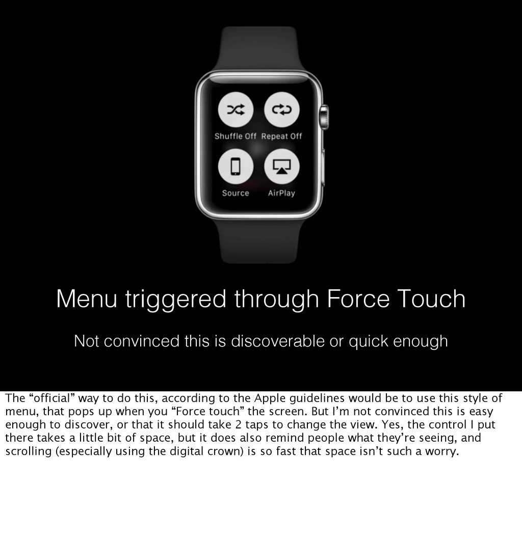 Menu triggered through Force Touch Not convince...