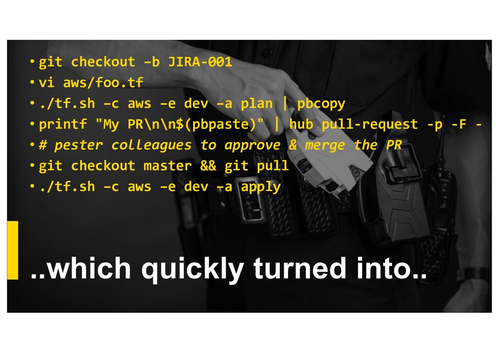 ..which quickly turned into.. • git checkout –b...