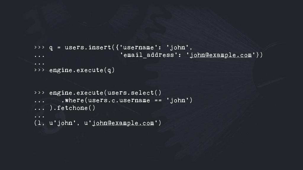 >>> q = users.insert({'username': 'john', ... '...