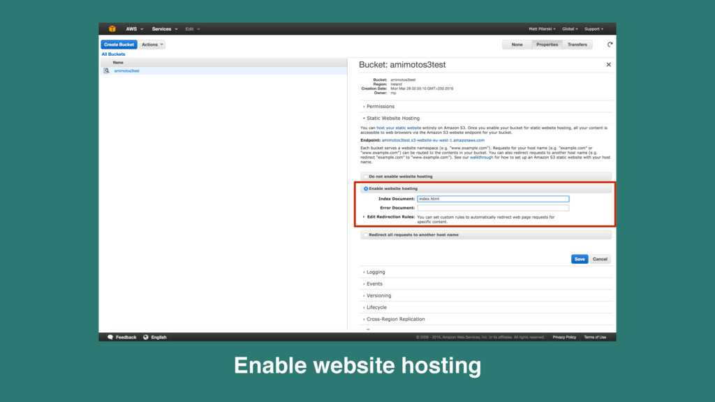 Enable website hosting