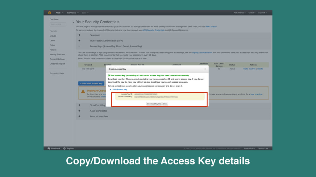 Copy/Download the Access Key details
