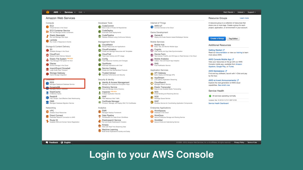 Login to your AWS Console