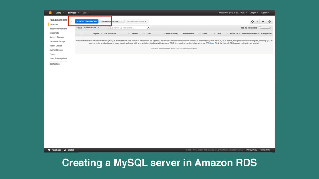 Creating a MySQL server in Amazon RDS