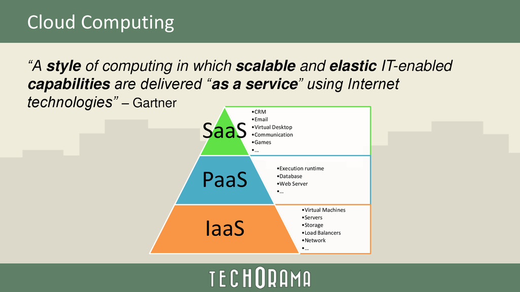 "Cloud Computing ""A style of computing in which ..."