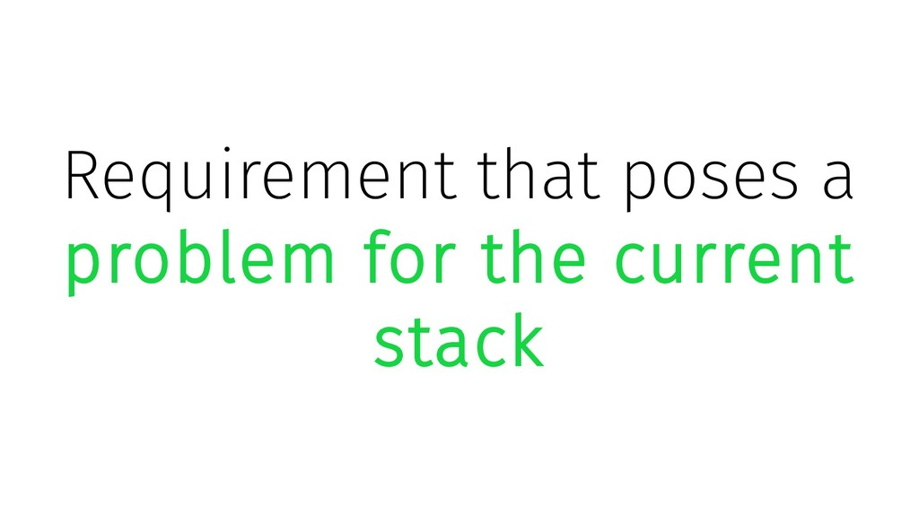 Requirement that poses a problem for the curren...