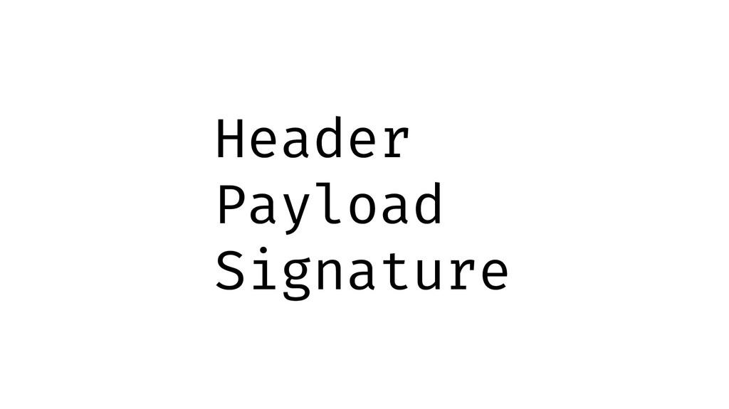 Header Payload Signature