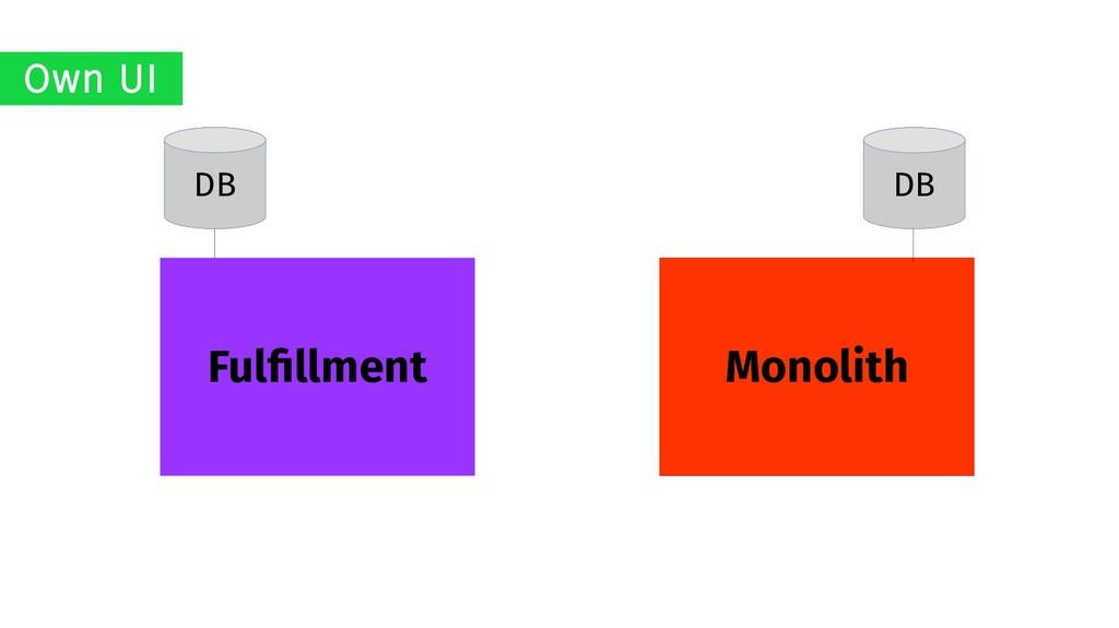 Monolith Fulfillment DB DB Own UI