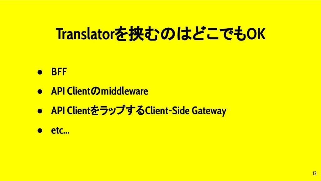 13 Translatorを挟むのはどこでもOK ● BFF ● API Clientのmid...
