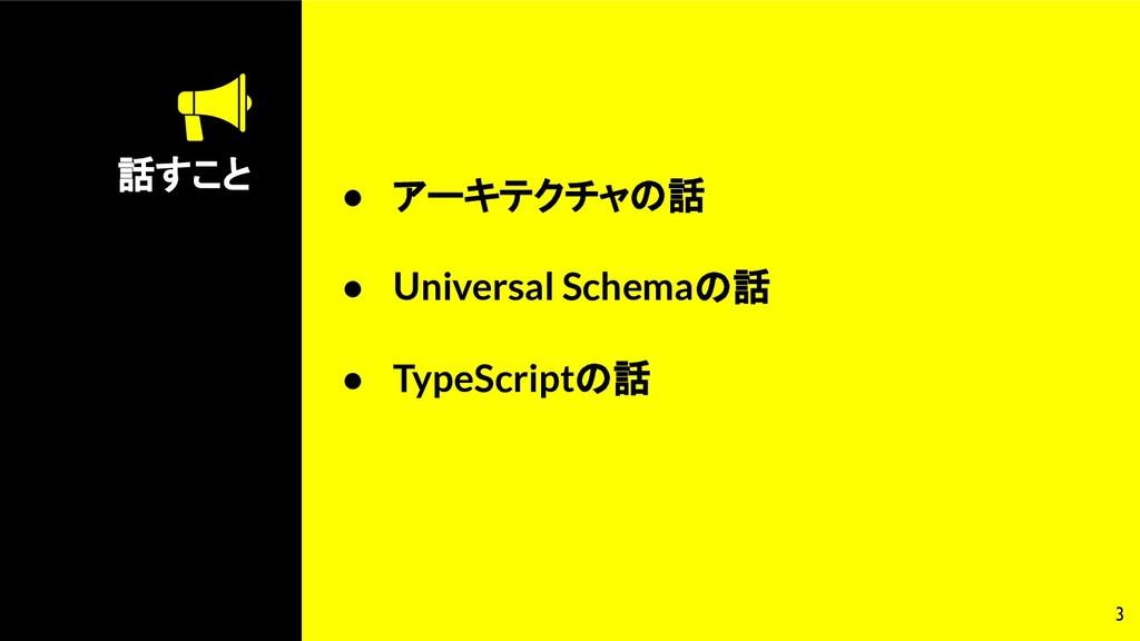 話すこと 3 ● アーキテクチャの話 ● Universal Schemaの話 ● TypeS...