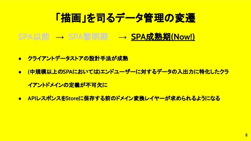 8 「描画」を司るデータ管理の変遷 SPA以前 → SPA黎明期 → SPA成熟期(Now!)...