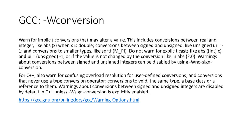 GCC: -Wconversion Warn for implicit conversions...