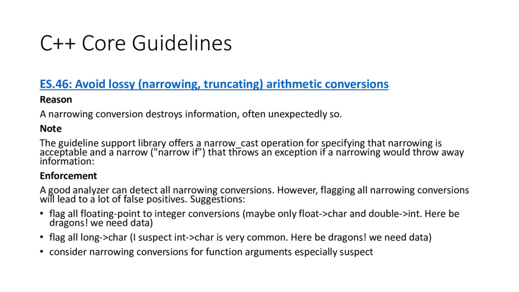 C++ Core Guidelines ES.46: Avoid lossy (narrowi...