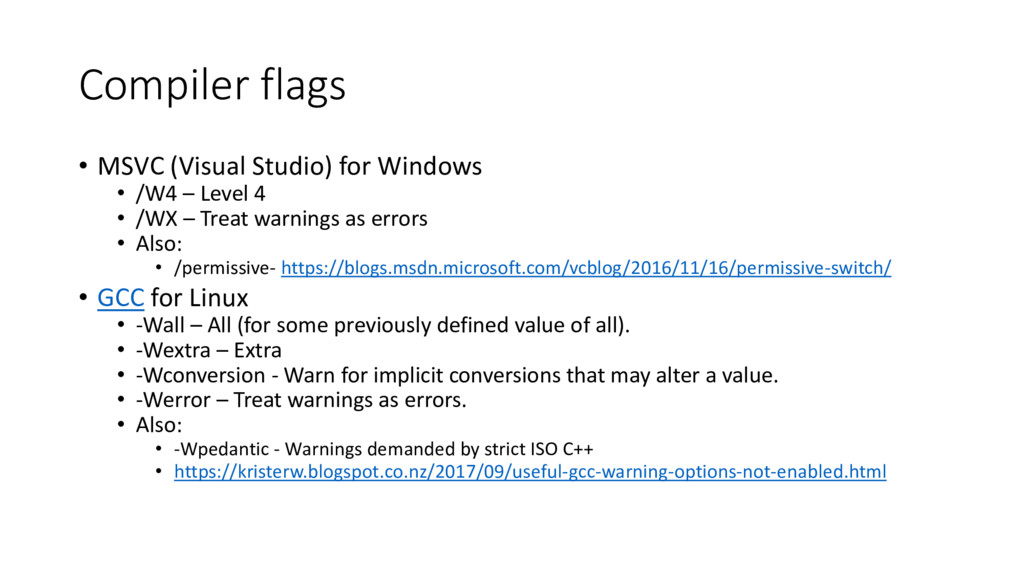 Compiler flags • MSVC (Visual Studio) for Windo...