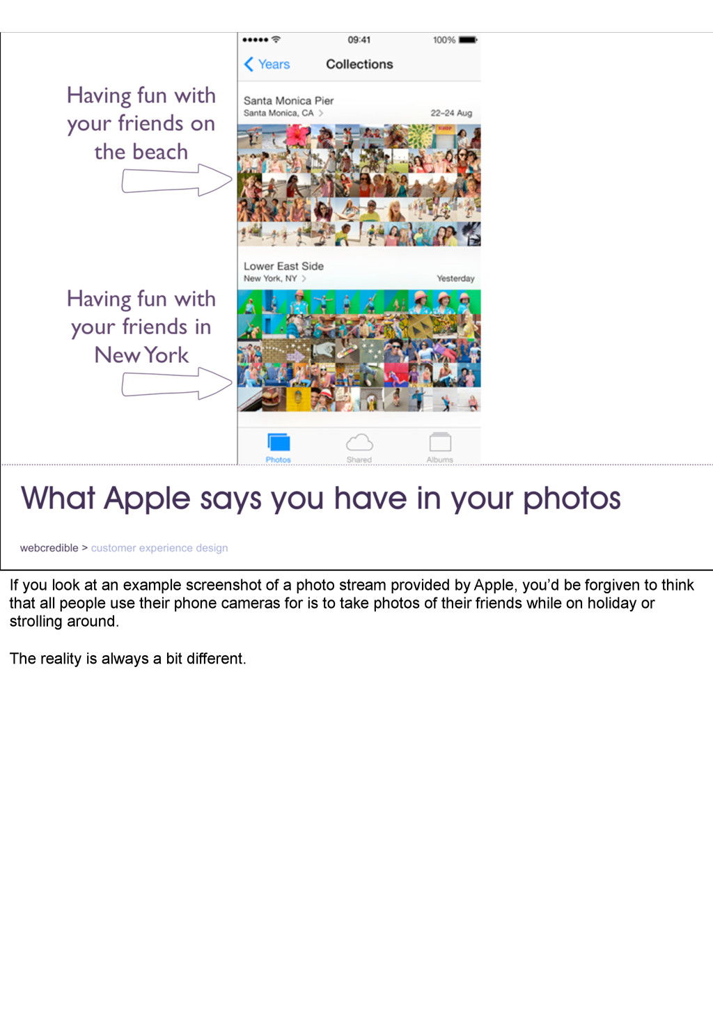 If you look at an example screenshot of a photo...