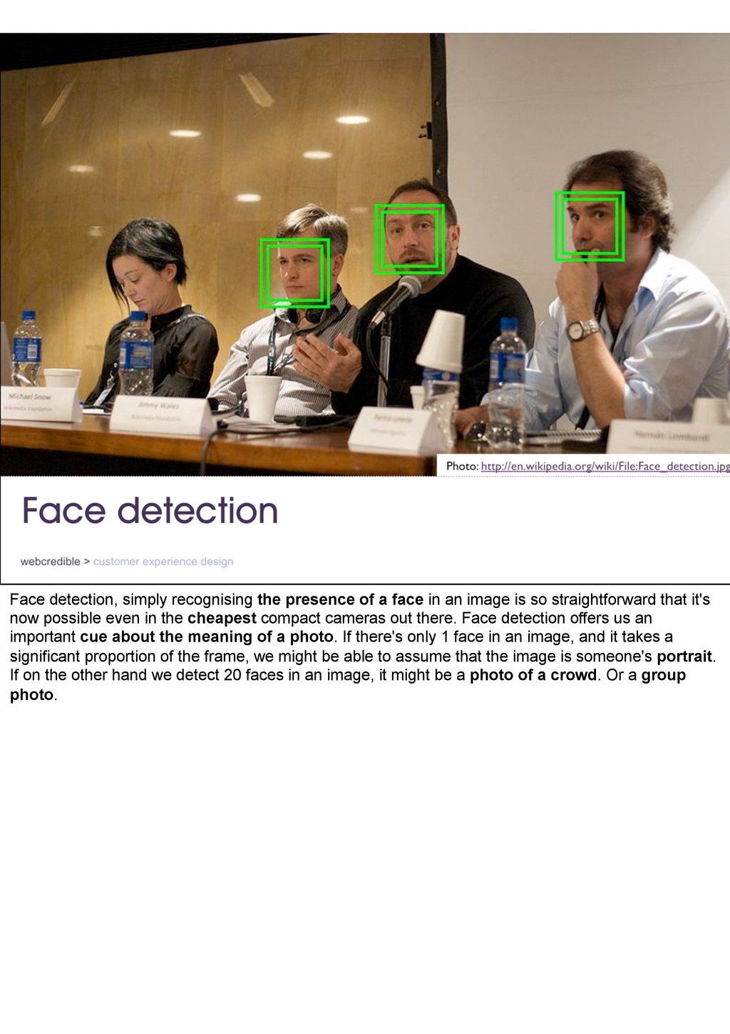 Face detection, simply recognising the presence...