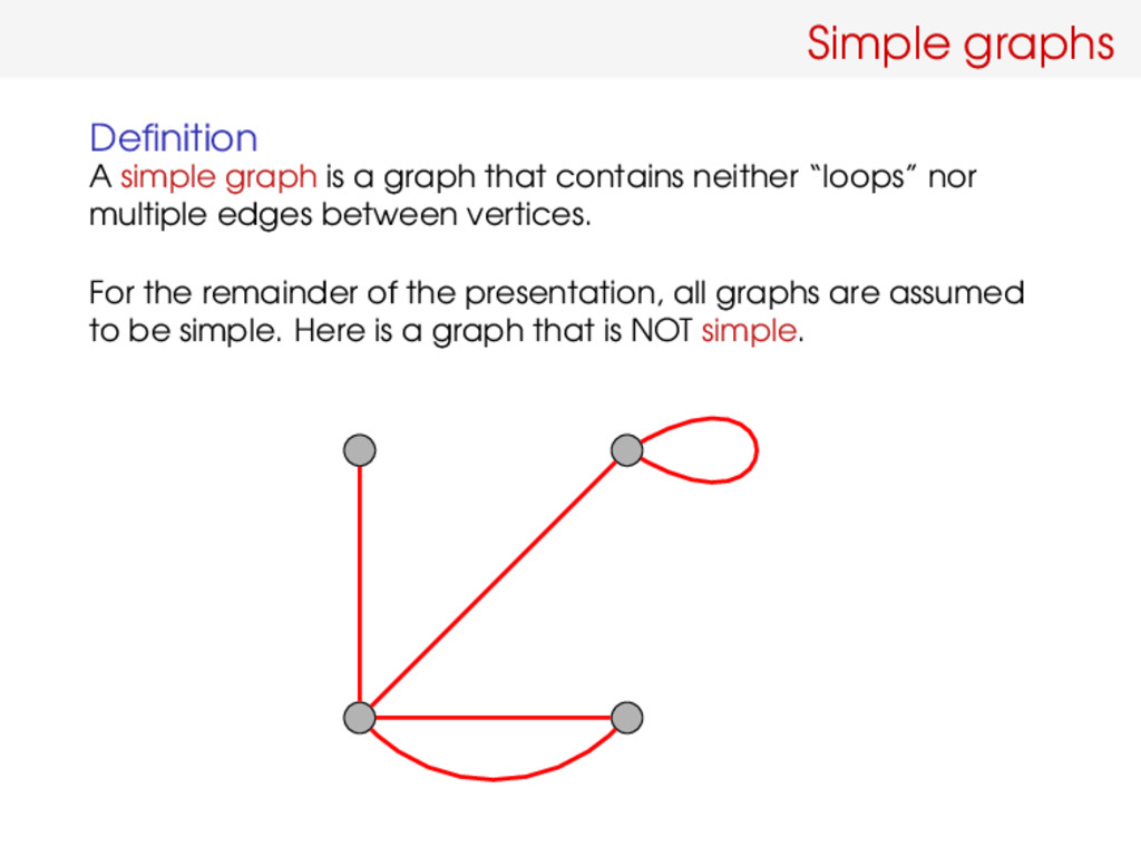 Simple graphs Definition A simple graph is a gra...